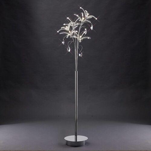09-DIYAS Kenzo Stehleuchte 6 Glühlampen aus poliertem Chrom / Kristall