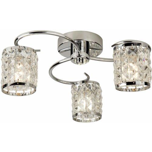 03-SEARCHLIGHT Königs Decke 3 Chrom Lampen mit Kristallglas
