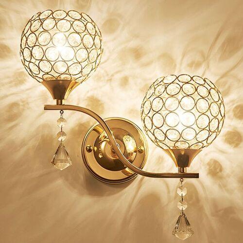 STOEX Kristall Wandleuchte Einfachen Stil Wandlampe LED Doppelkopf Modern
