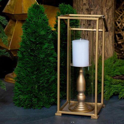 PFLANZEN KÖLLE Laterne mit Glas, gold, Metall, H 47 x Ø 20,5 cm