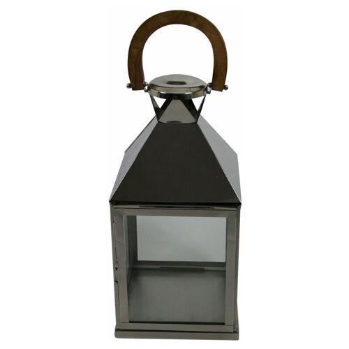 PFLANZEN KÖLLE Laterne, silber & braun, Glas, Holz, Metall B24,5 L24,5 H48