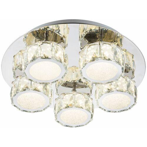 GLOBO LED Decken Lampe Leuchte Metall Chrom Dimmbar Kristalle Wohn Ess Schlaf