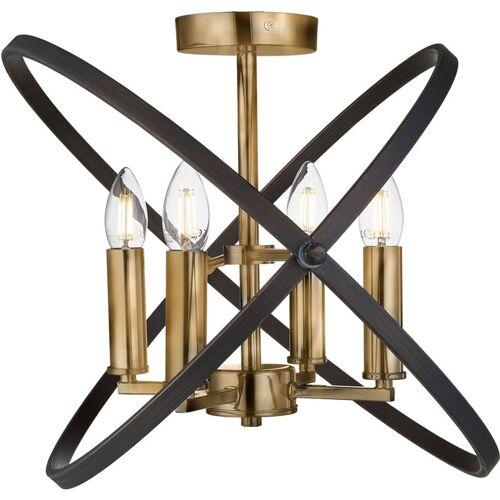 Etc-shop - Decken Lampe Kronleuchter bronze Ring Design Leuchte