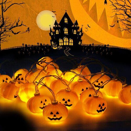 LANGRAY LED Lichterketten, Kürbis Lichterketten Halloween Kürbis Laterne 2m