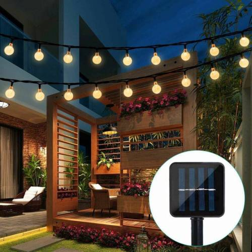 LITZEE Solar Garden Lichterketten, 6m 30 wasserdichte Kristallkugeln LED