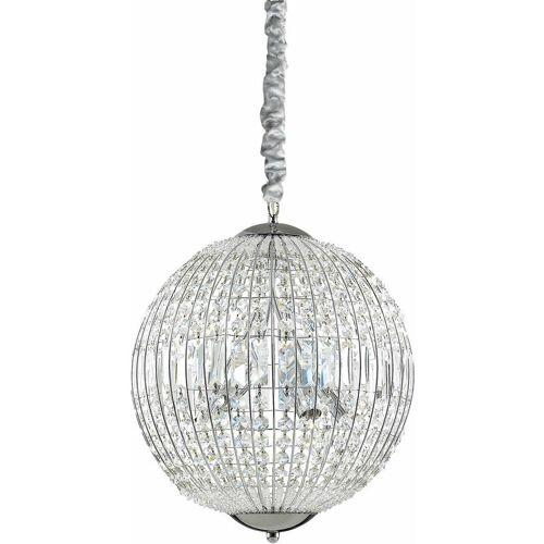 01-IDEAL LUX LUXOR Kristall Chrom Pendelleuchte 6 Leuchten