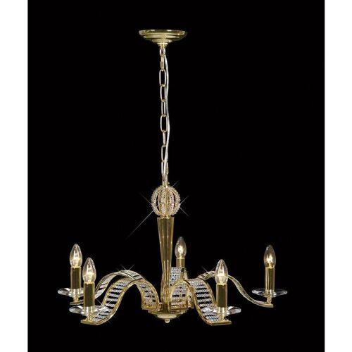 09-DIYAS Niobe Pendelleuchte 5 Lampen Gold / Kristall