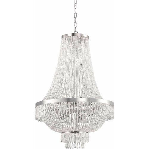 01-IDEAL LUX Verchromter Kristallanhänger AUGUSTUS 12 Glühbirnen