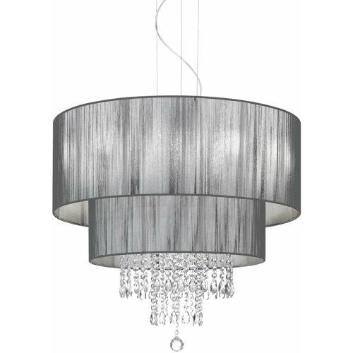 01-IDEAL LUX Schwarzer Kristallanhänger OPERA 6 Glühbirnen