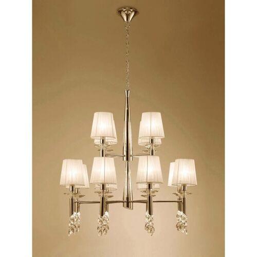 09-diyas - Pendelleuchte Tiffany 2 Tier 12 + 12 Lampen E14 + G9, Gold