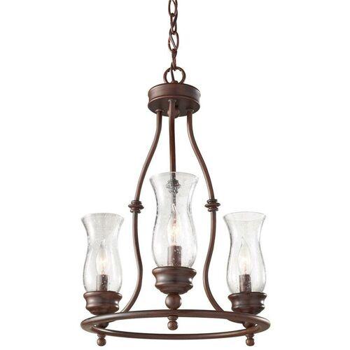 02-ELSTEAD Pickering Lane Anhänger, Bronze und Glas, 3 Glühbirnen
