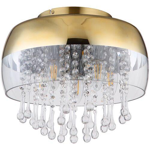 ETC-SHOP Messing Decken Lampe FERNBEDIENUNG Kristall Glas Leuchte DIMMBAR im Set