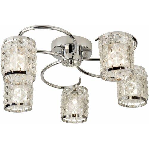 03-SEARCHLIGHT Royal 5-Chrom-Lampen Decke mit Kristallglas