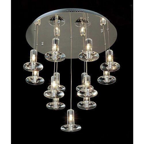 09-DIYAS Runde Troy-Aufhängung 13 Lampen aus poliertem Chrom / Kristall