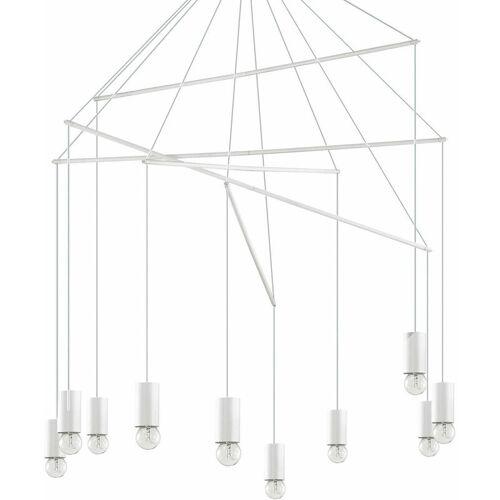 01-IDEAL LUX Weiße POP Pendelleuchte 10 Glühbirnen