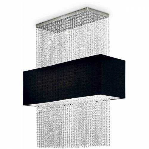 01-IDEAL LUX Schwarzer Kristallanhänger PHOENIX 5 Glühbirnen