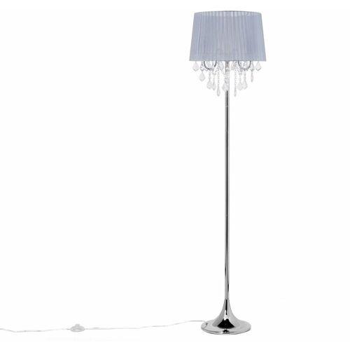 BELIANI Stehlampe Grau Metall 170 cm 3-flammig Stoffschirm mit Kristallen aus