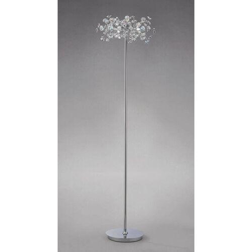 09-DIYAS Stehlampe Savanna 3 Lichter poliert Chrom / Kristall