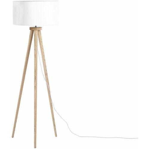 Beliani - Moderne Stehlampe Polybaumwolle/Holz weiß Nitra