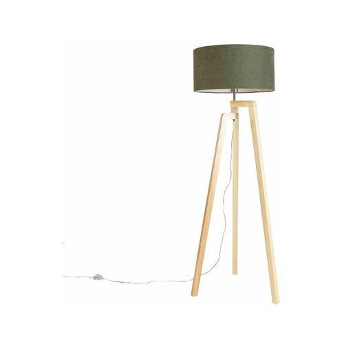 QAZQA Stehleuchte Stativ Holz mit Schirm 50 cm grün - Puros