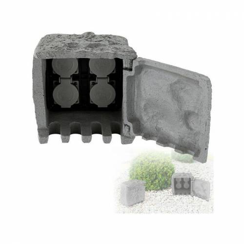 GLOBO Außen-Verteilersteckdose 4er Außen-Steckdose Stein-Optik