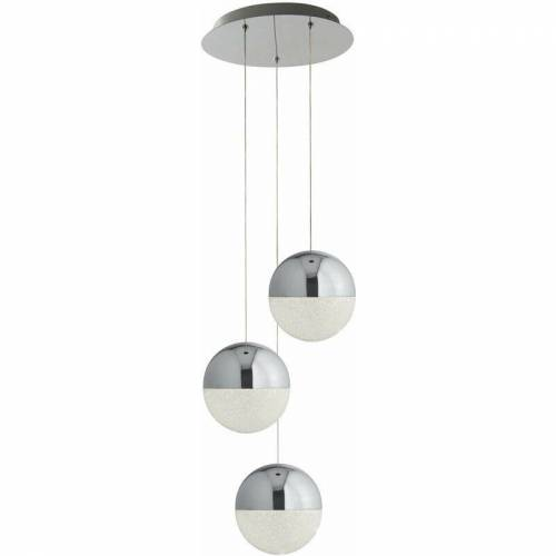 03-SEARCHLIGHT Suspension Murmeln 3 LED-Lampen zerstoßenes Eis Effekt Schatten Chrom