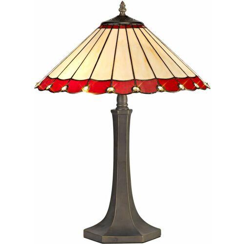 13-luminaire Center - Tiffany Calais Tischlampe 2 rote 40 cm Glühbirnen