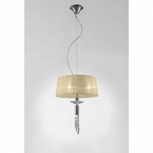 09-diyas - Tiffany Pendelleuchte 3 + 1 E27 + G9 Glühlampe, Chrom