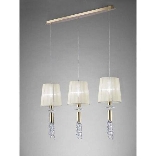 09-DIYAS Tiffany Pendelleuchte 3 + 3 Lampen E27 + G9 Line, Gold mit