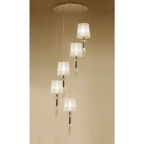09-diyas - Tiffany Pendelleuchte 5 + 5 Lampen E27 + G9 Spirale, Gold