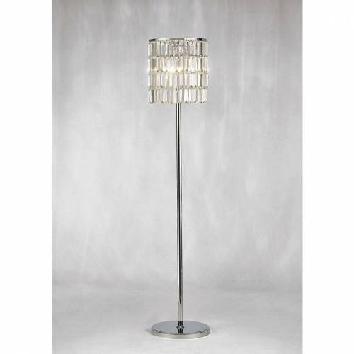 09-DIYAS Torre Kristall Vorhang Stehlampe 5 Lichter Chrom poliert