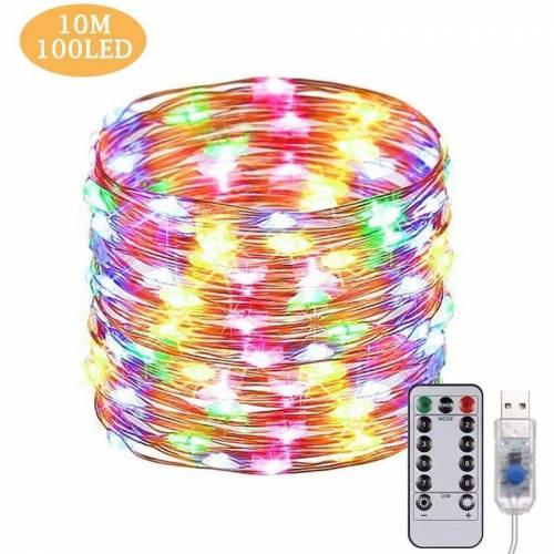 LANGRAY USB Led Lichterkette 10M 100 LEDs Fernbedienung Kupferdraht