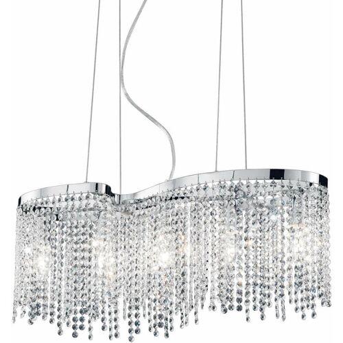 01-IDEAL LUX Verchromter Kristallanhänger AURORA 5 Glühbirnen