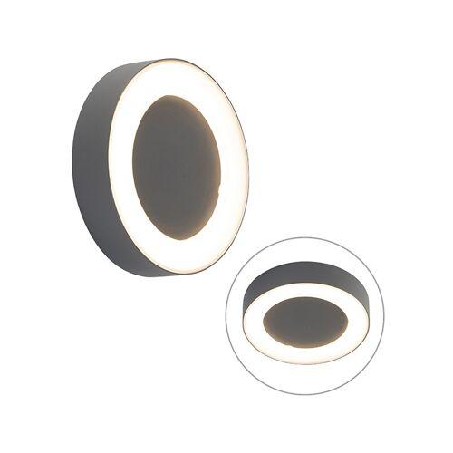 QAZQA Wand- und Deckenleuchte grau rund IP54 - Ariel - QAZQA
