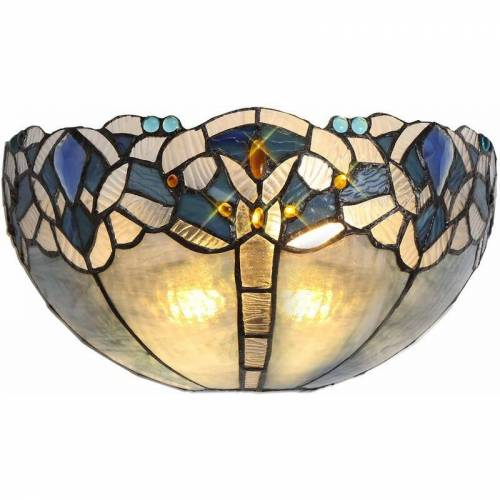 13-luminaire Center - Wandleuchte Tiffany Cofee 2 Bulbs Blue 41 Cm