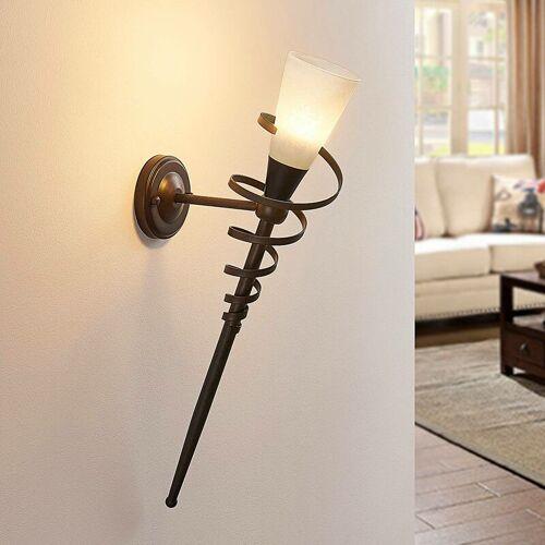 LINDBY Rostfarbene LED-Wandfackel Tjark