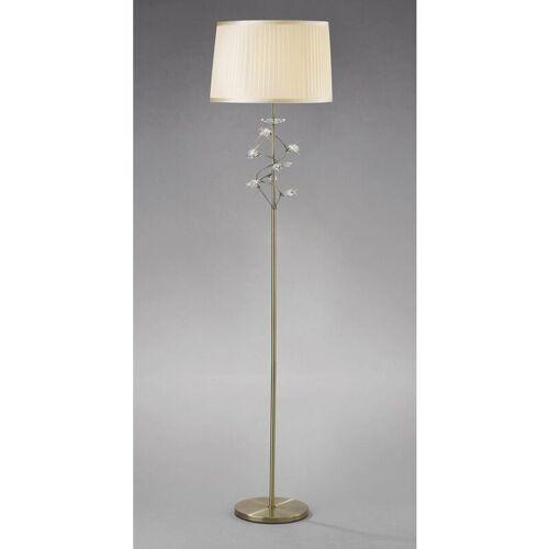 09-DIYAS Willow Stehlampe mit Cremeschatten 1 Birne Antik Messing / Kristall