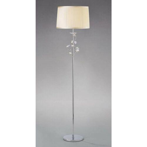 09-DIYAS Willow Stehlampe mit Cremeschatten 1 Birne poliert Chrom / Kristall