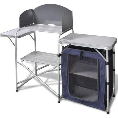 VIDAXL Camping-Kochstation aus Aluminium zusammenklappbar mit Windschutz