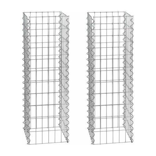 ESTEXO Gabionen-Säule 100 cm 2x Gabione 4-Eck 30x30 cm Steinkorb Säulengabione
