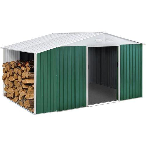 HABITAT ET JARDIN Gartenhaus aus Metall Rosas 7,06 m² mit Holzunterstand