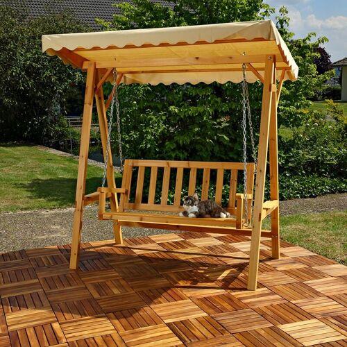 MUCOLA Hollywoodschaukel Gartenschaukel Hängeschaukel Schaukelbank Holz Dach