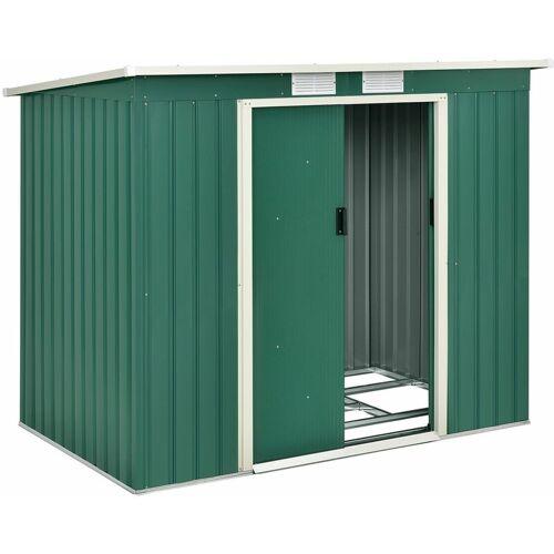 Juskys Metall Gerätehaus M grün   4m³   213×130×173 cm   mit Pultdach,