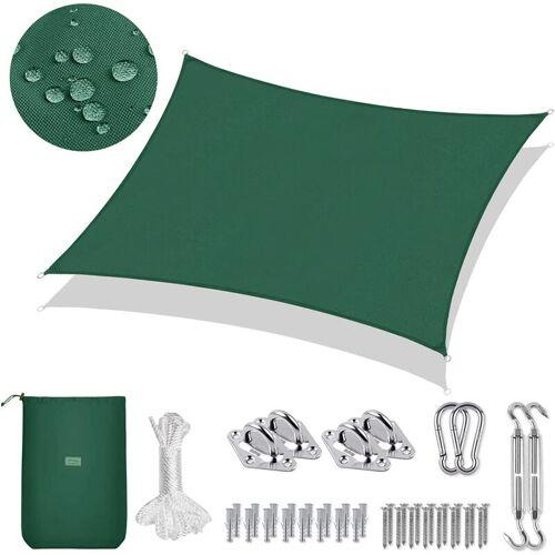 SEKEY PES Sonnensegel Rechteck 3 x 2m Sonnenschutzsegel mit Montageset, Grün