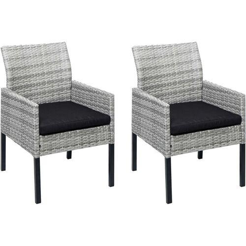 HHG 2x Poly-Rattan Sessel 818, Gartenstuhl Korbsessel ~ grau, Kissen