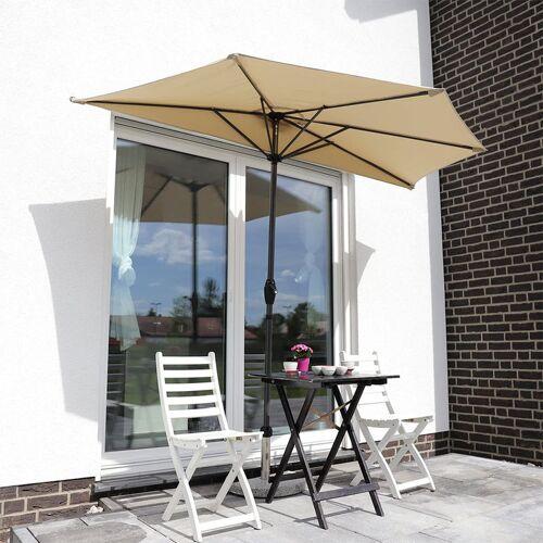 SEKEY Balkon-Sonnenschirm 270×135 cm Halbrund Sonnenschirm UV 50+, Taupe