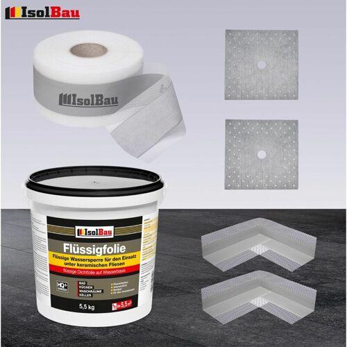 ISOLBAU Duschelement Dichtset Abdichtset Dichtband Flüssigfolie 5,5 kg
