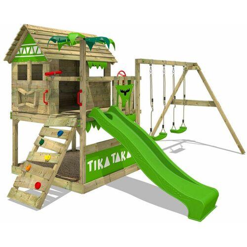 FATMOOSE Spielturm Klettergerüst TikaTaka mit Schaukel & apfelgrüner