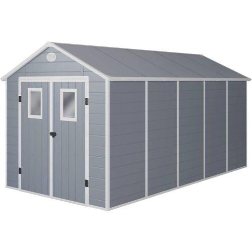 HABITAT ET JARDIN Gerätehaus Texas - 10.99 m² - 456 x 242 x 239 cm - Grau - HABITAT ET