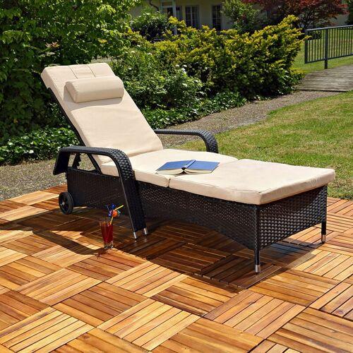 MUCOLA Gartenliege Sonnenliege Liege Relaxliege GartenmöblLiegestuhl Polyrattan
